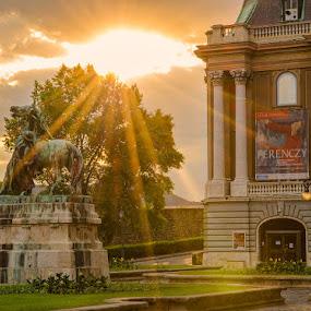 Sun splash by Peter Zajfrid - Landscapes Travel ( hungary, budapest, sunset, budim, pwcsunbeams-dq )