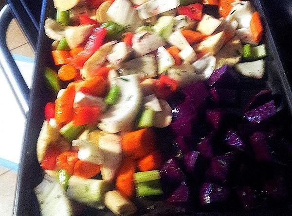 Rinse,clean and peel all of the vegetables. Quarter the fennel and cube the beets....