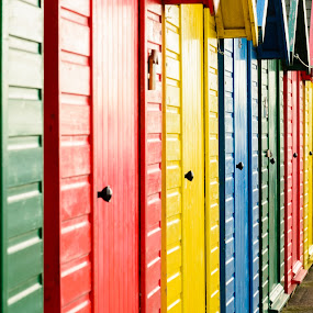 Doors by Darrell Evans - Buildings & Architecture Other Exteriors ( beach hut, building, relax, colorful, hut, green, door, whitby, yellow, seaside, holiday, red, wooden, colourful, yorkshire, blue, outdoor, summer )