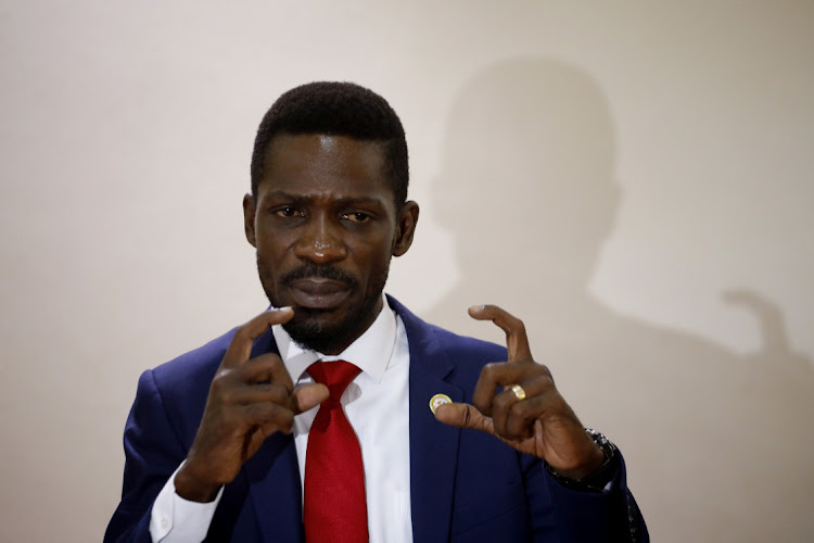 Ugandan opposition presidential candidate Robert Kyagulanyi, also known as Bobi Wine, speaks during a press conference with other opposition leaders in Kampala, Uganda on January 12 2021. Picture: REUTERS/BAZ RATNER