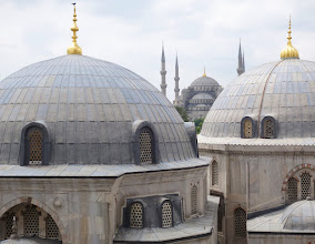 Photo: View of the Blue mosque from the 2nd floor of Hagia Sophia