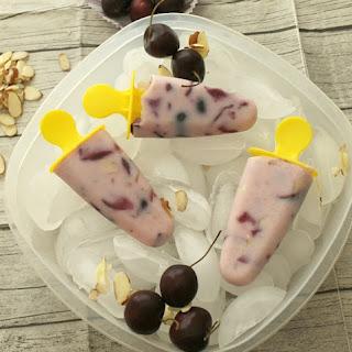 Cherry Almond Yogurt Popsicles