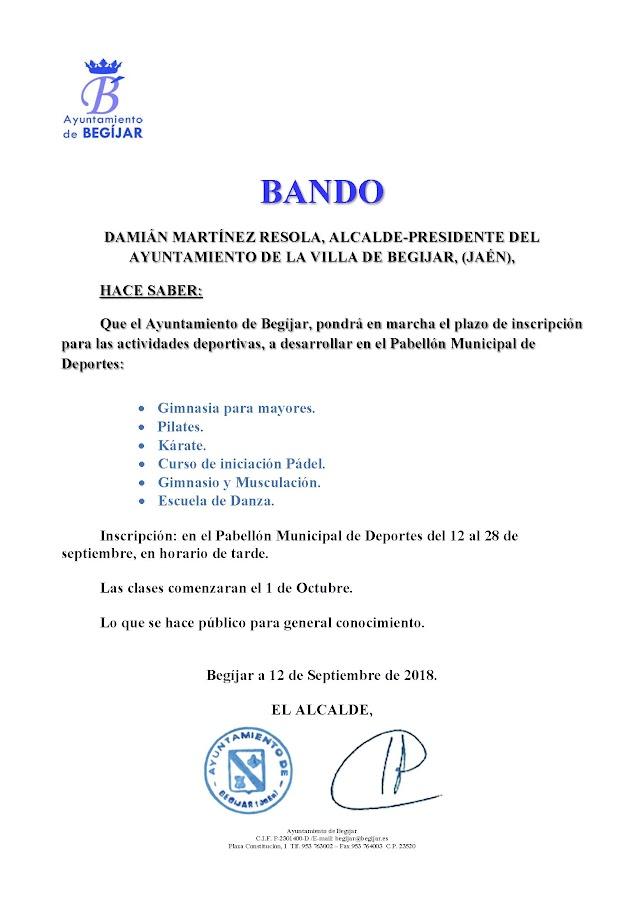 Bando Actividades Deportivas Pabellón