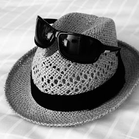 Summer holiday by Shona McQuilken - Artistic Objects Clothing & Accessories ( black and white, summer, sunglasses, hat )