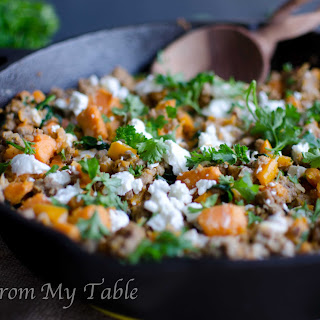 Turkey Skillet Dinner with Sweet Potatoes and Kale.