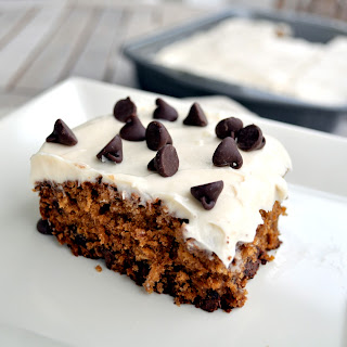 Oatmeal Chocolate Chip Cake w/ Cream Cheese Frosting.