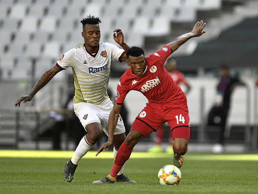Mothobi Mvala of Highlands Park wards off Nkanyiso Zungu then of Stellenbosch but now at Pirates in a previous encounter this season. / Ashley Vlotman/ Gallo Images