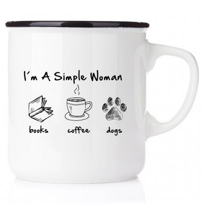 Emaljmugg - I´m a simple woman - books - coffee - dogs