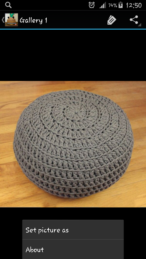crochet pattern pouf android apps on google play. Black Bedroom Furniture Sets. Home Design Ideas