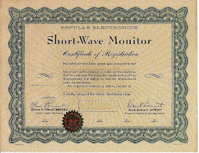 Photo: This Certicate issued by Popular Electronics were their first steps down the path to SWL, CB and Amateur radio.