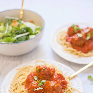 Spaghetti with Meatballs and Caesar Salad for Two!.
