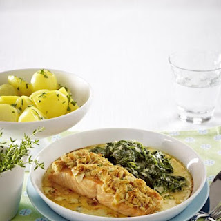 Almond Crusted Salmon with Creamed Spinach and Parsley Potatoes