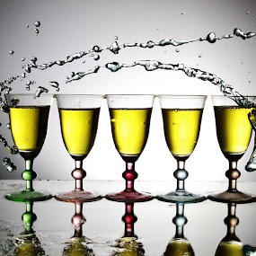 five glasses and water pour by Peter Salmon - Artistic Objects Glass ( colour, water, glasses, pour, glass )