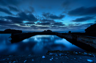 Photo: Blue Hour San Francisco, CA. 2012.  Yesterday's sunset at Sutro Baths was a little underwhelming, so I waited until everyone else left, knowing that the blue hour would eventually come and hoping that it bring with it some gifts. (and it did!).  Just minutes before I took this picture there was about 15 people standing around this pool, lucky for me they thought the sunset was over.  #plusphotoextract