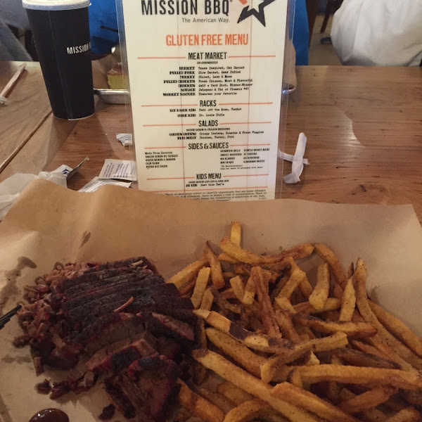 Brisket plate with side of fries