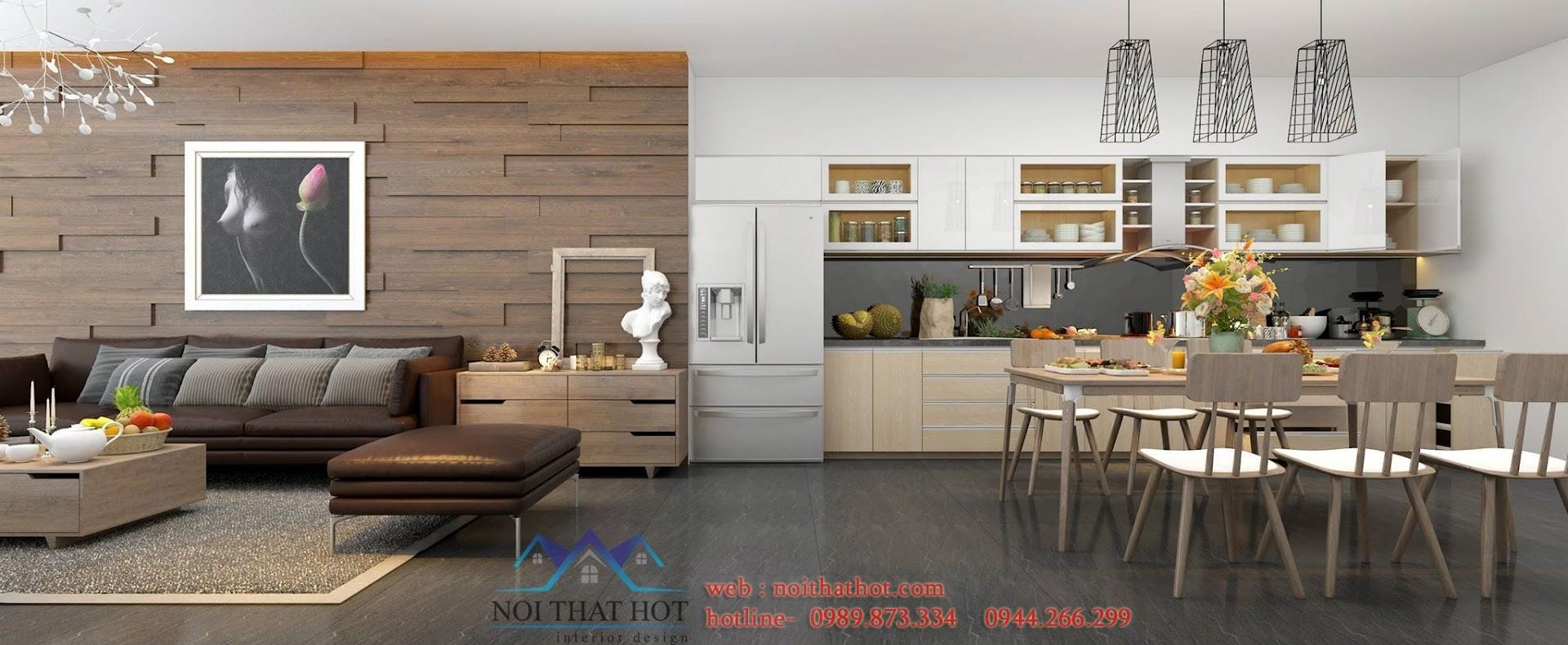 thiết kế phòng khách liền phòng bếp