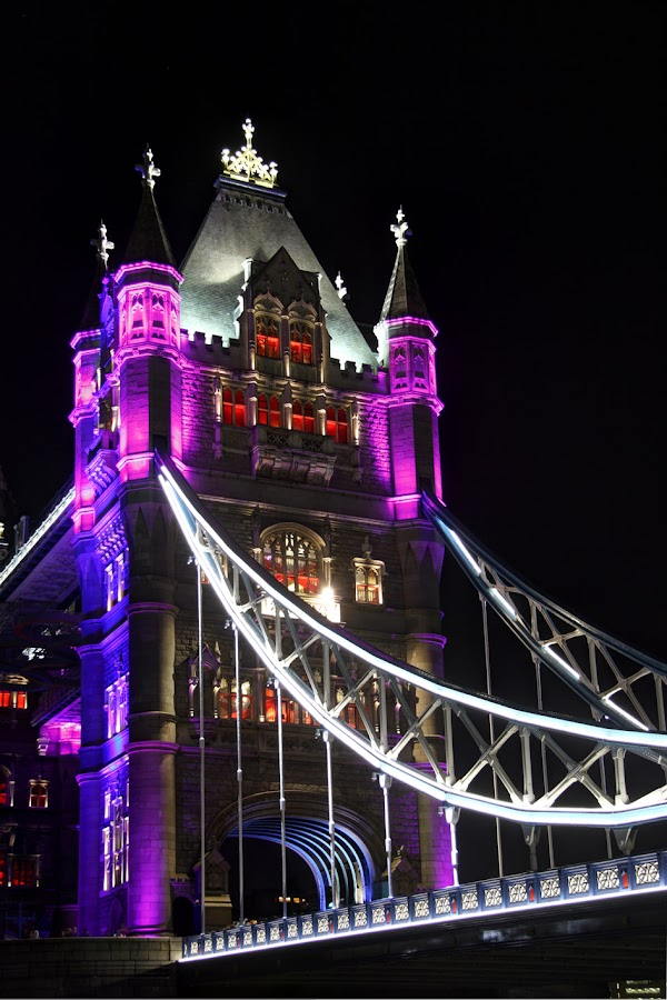 Tower Bridge 14 by Bill Green - Buildings & Architecture Bridges & Suspended Structures ( lights, london 2012, red, purple, blue, the thames, tower bridge, white )