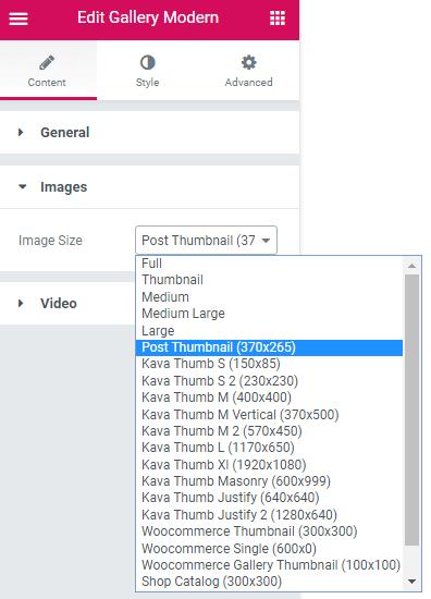 Images settings in Gallery Modern widget
