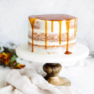 Cardamom Spiced Carrot Cake with Ginger Frosting & Caramel Drizzle