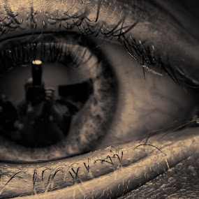 What the Eye Beholds by Leigh Brooksbank - People Body Parts ( reflections, self portrait, misc, sigma 105mm, eye )