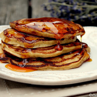 Apple Cider Buttermilk Pancakes with Apple Caramel Syrup