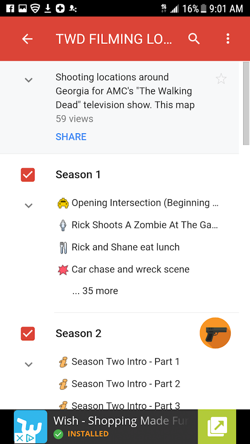 GA DEAD TOURS - TWD LOCATIONS MAP- screenshot