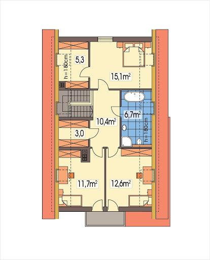 Antoni wersja A bez garażu - Rzut piętra
