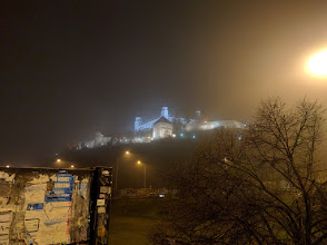 Photo: Bratislava Castle in the evening fog, before I caught my bus to VIenna.