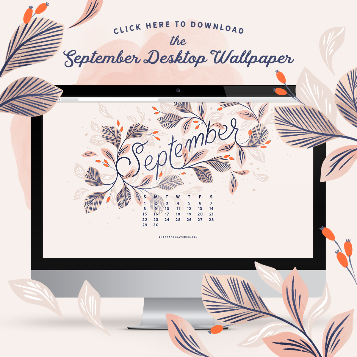 September 2019 Illustrated Desktop Wallpaper by Paper Raven Co. - www.ShopPaperRavenCo.com #desktopwallpaper #dressyourtech #desktopdownload