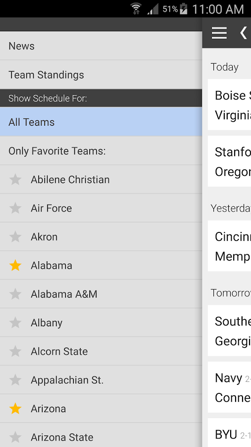 football games schedule best college football app