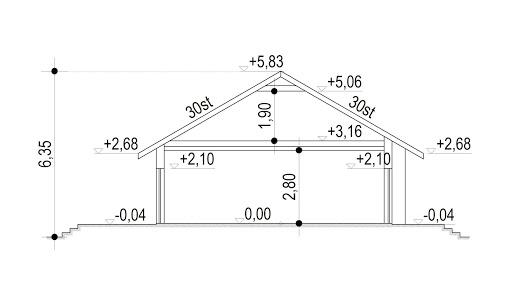 Domek Mokka 053 ES - Przekrój