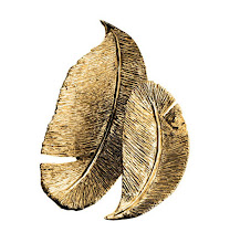 Photo: CREATION GALANT Exclusively ours. Gold-plated pewter feather trays. Small, 9″. $195. Large, 13.3″. $295. France. Seventh Floor. 212 872 2686