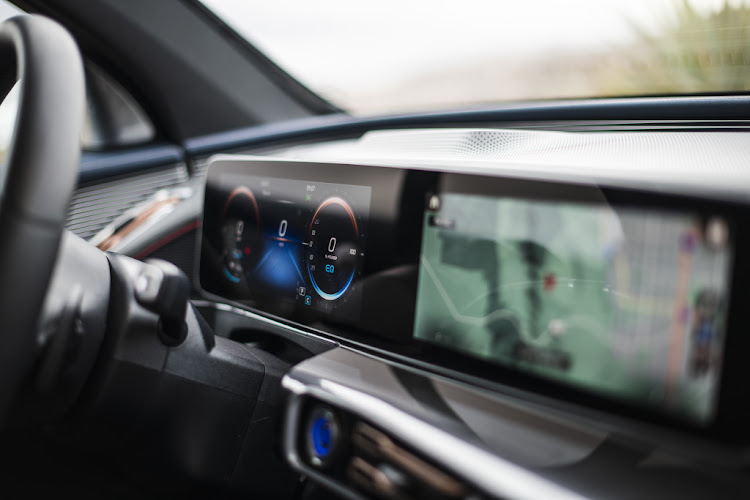 Mercedes' first electric car, the EQC, features two 10.25-inch (26cm) displays behind a glass surface forming a free-standing screen. Picture: SUPPLIED
