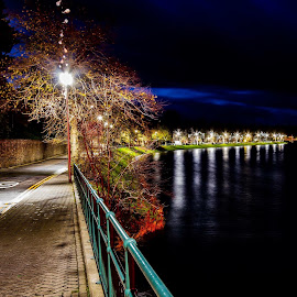Inverness Riverside  by Gordon Bain - City,  Street & Park  Night ( inverness riverside autumn night night time at the river ness )