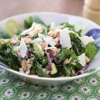 Lemony Tuna and White Bean Kale Salad with Avocado.
