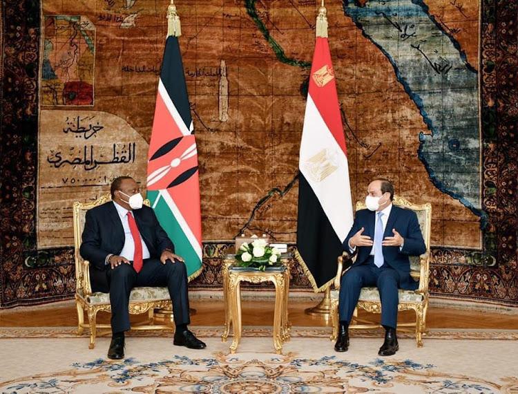 President Uhuru Kenyatta with his host Egyptian counterpart Abdel Fattah Al-Sisi on October 5, 2020.