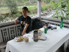 Photo: Emily having lunch the first day on our 10-12 days trek