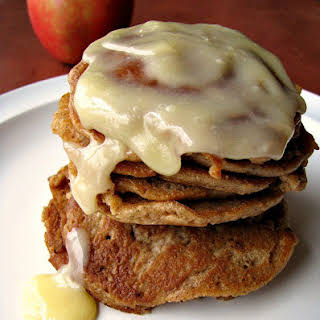 Cinnamon Roll Apple Pancakes with Cream Cheese Drizzle.