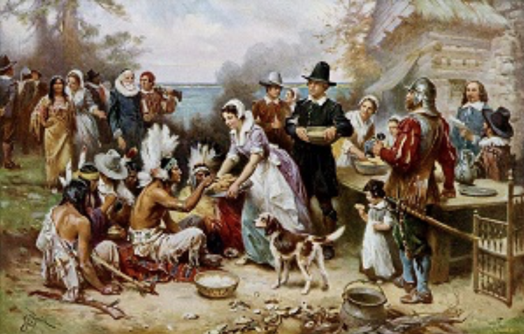 "New York Social Diary. ""The First Thanksgiving 1612"" oil painting by Jean Leon Gerome Ferris."