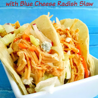 Buffalo Chicken Tacos with Blue Cheese Radish Slaw
