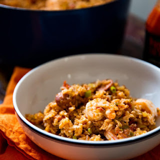 Creole-Style Red Jambalaya With Chicken, Sausage, and Shrimp.