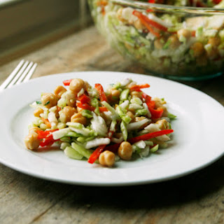 Raspberry Vinaigrette Slaw with Garbanzo Beans, Red Peppers and Golden Raisins