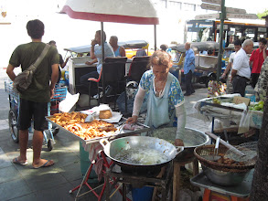 Photo: More street fare in Bangkok. It's not unusual to see vendors with propane tanks heating cooking oil right out on the open sidewalk.