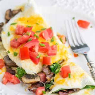 Bacon Spinach & Mushroom Egg White Omelette.