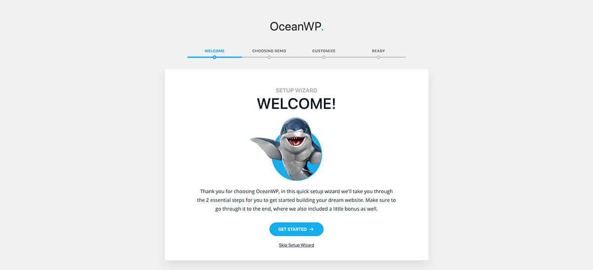 OceanWP Setup Wizard