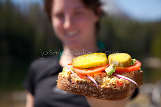 Photo: Young woman with sandwich.  Jackson Lake in Grand Teton National Park, WY.