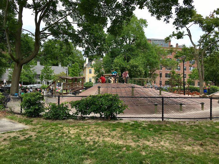 The playground at the northeast corner of Cambridge Common.