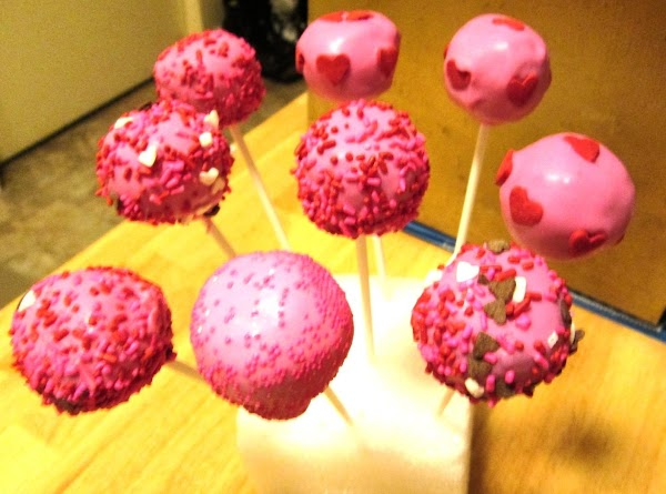 Valentine Cake Pops~  A Super Moist Red Velvet Cake with a cream cheese center.