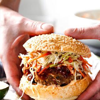 Asian Burger with Hoisin Ketchup.