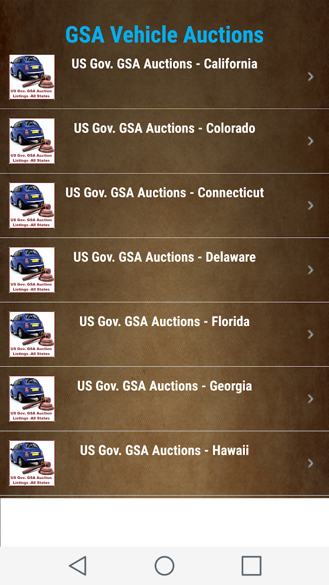US Goverment GSA Auction Listings - All States Android 2